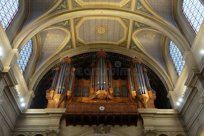 Organ w St Francis Xavier kościół w Paryż zdjęcie stock
