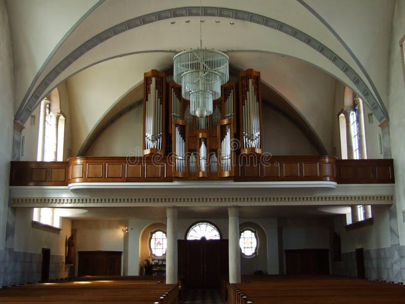 Organ w wielkim kościół chrześcijańskim w miasteczku Gossau obraz royalty free