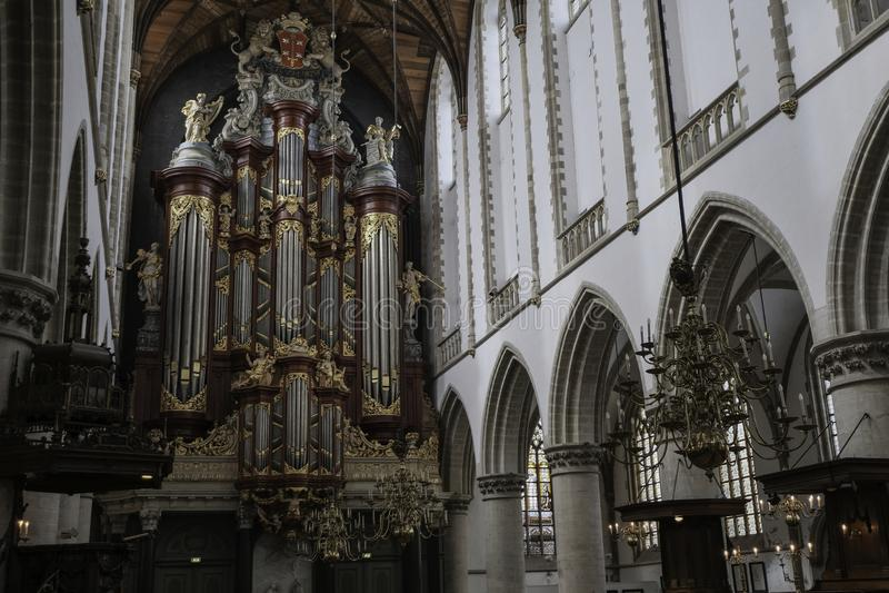 Organe célèbre de l église Haarlem de St Bavo image libre de droits