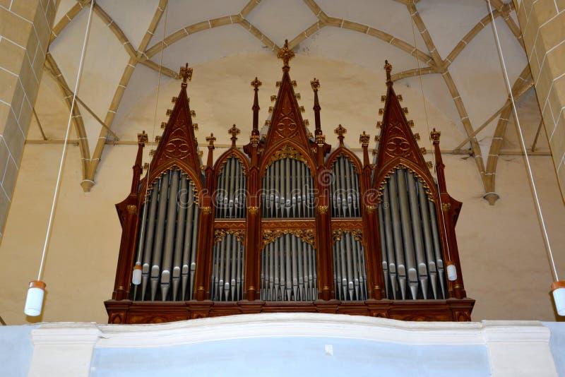 Organe de l'église enrichie médiévale Biertan, la Transylvanie photographie stock libre de droits