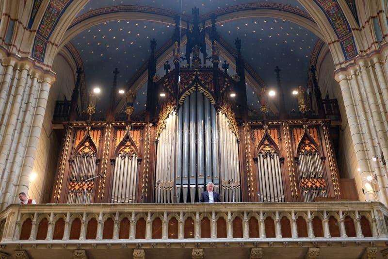 Organe de tuyau dans la cathédrale de Zagreb photos libres de droits