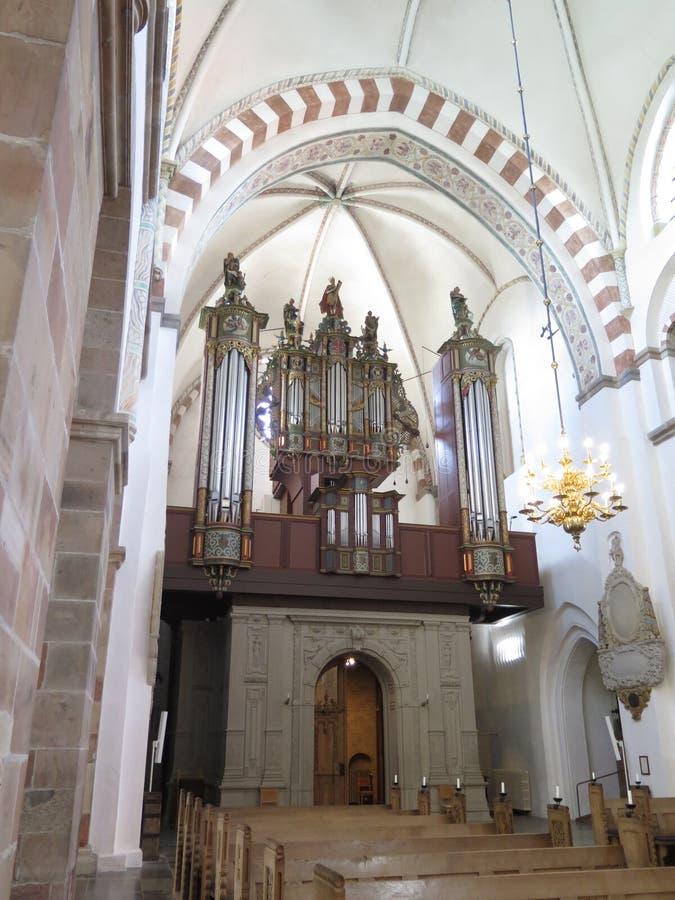 Organe et tuyaux dans la cathédrale de Ribe, Danemark photos libres de droits