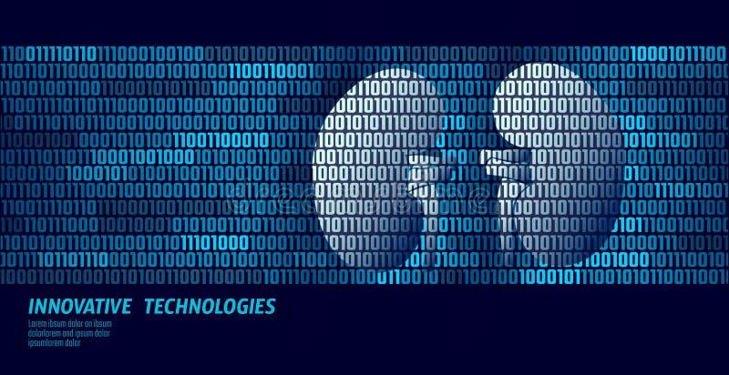 Organes internes d'urologie saine de reins flux de données de code binaire Illustration innovatrice en ligne de vecteur de techno illustration libre de droits