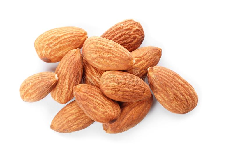 Organic almond nuts on white background,. Top view. Healthy snack royalty free stock photo