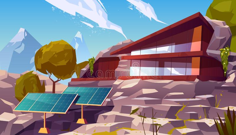 Organic architecture eco house with solar panels. Organic architecture house with solar panels. Eco friendly wooden dwelling building with huge windows situated royalty free illustration