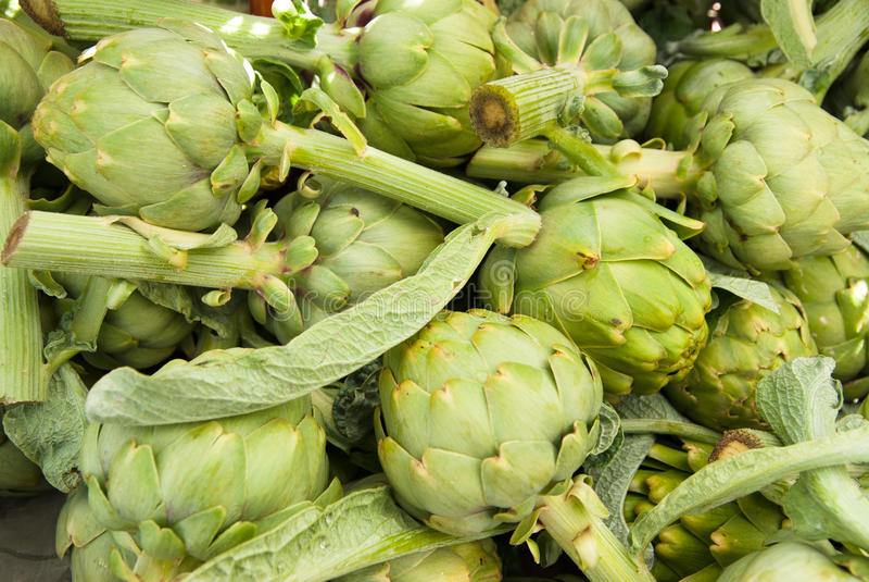 Organic Artichokes Royalty Free Stock Photos