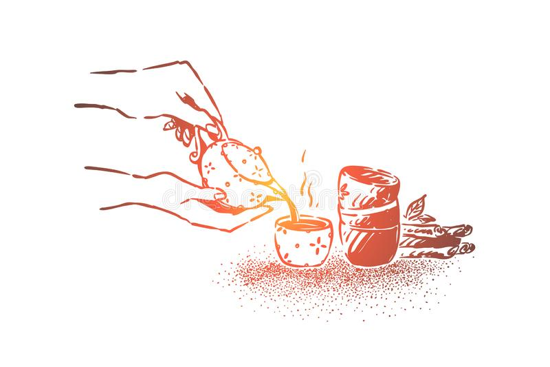 Organic asian drink making closeup, hands holding porcelain teapot, pouring herbal brew in small cup stock illustration
