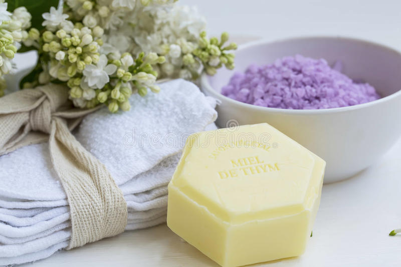 Organic beauty spa with natural thyme soap and cotton towels, ba. Th salt spa stock photos