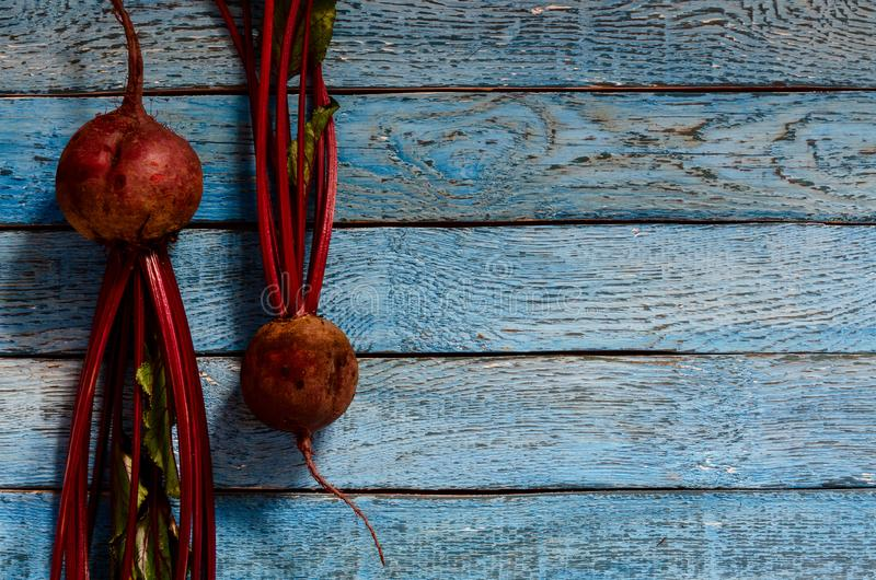 Organic beetroot vegetable fresh red beet roots on wooden background stock image