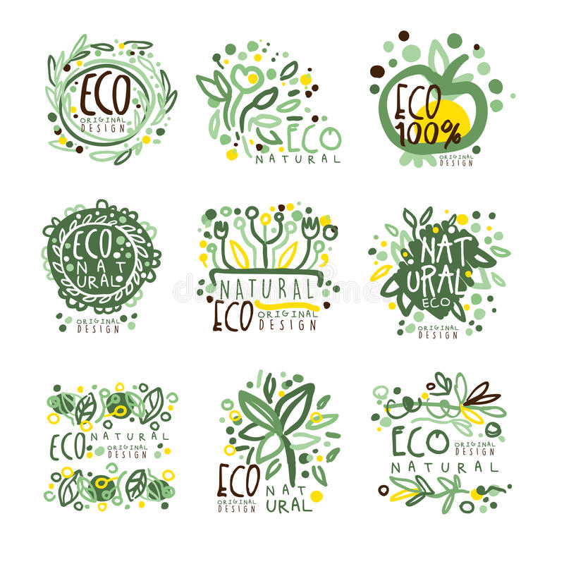 Organic, bio, farm fresh, eco, healthy food set for label design. Ecology, nature vector Illustrations. For stickers, banners, cards, advertisement tags stock illustration