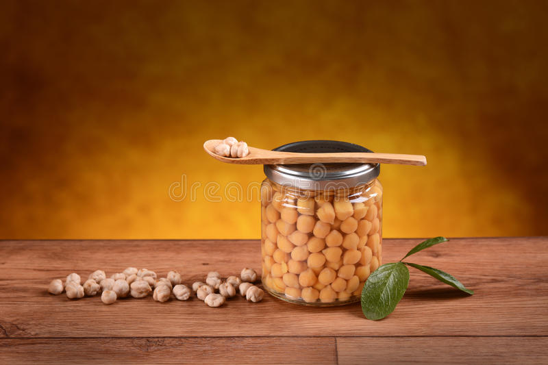 Organic boiled chickpeas stock photos