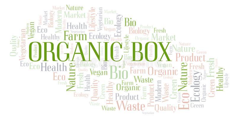 Organic Box word cloud. Organic Box word cloud, wordcloud made with text only vector illustration