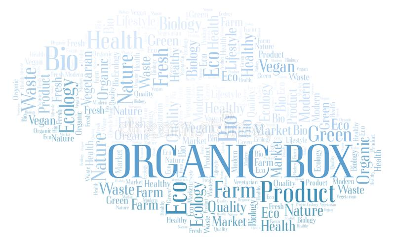 Organic Box word cloud. Organic Box word cloud, wordcloud made with text only stock illustration
