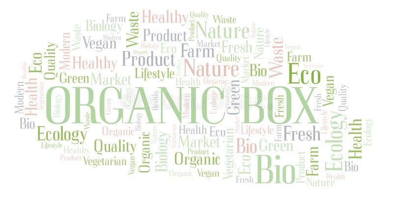 Organic Box word cloud. Organic Box word cloud, wordcloud made with text only royalty free illustration