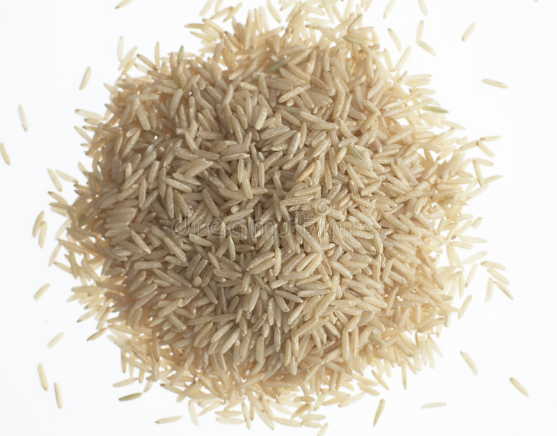 Organic brown basmati rice. On a white background stock photo