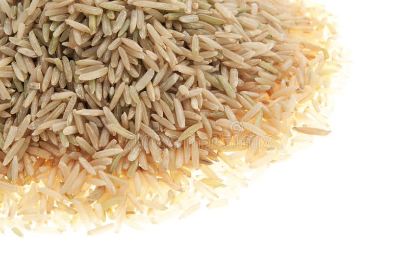 Organic brown rice basamati. Isolated organic brown rice basamati royalty free stock photos