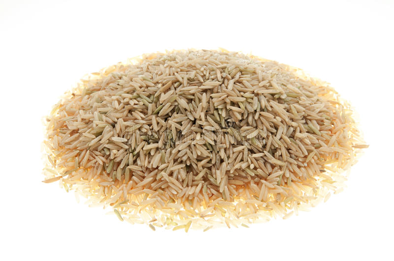 Organic brown rice basamati. Isolated organic brown rice basamati royalty free stock photo