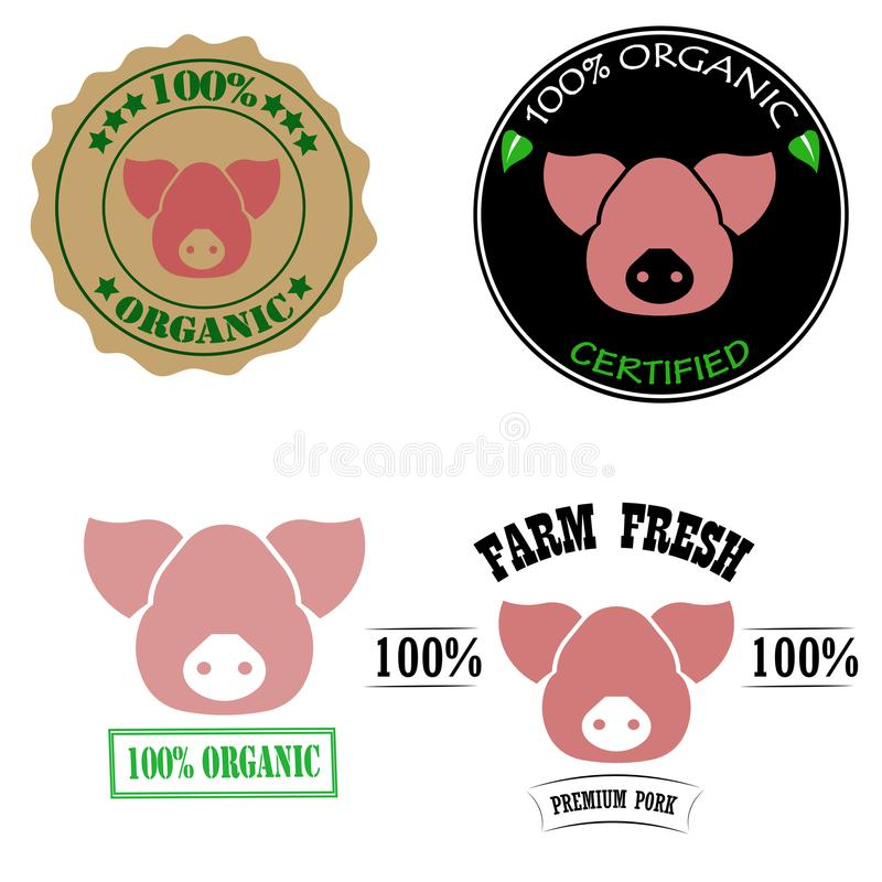 100% organic, certified, fresh farm, premium pork meat logos or labels set with pink pig head. Vector illustration vector illustration
