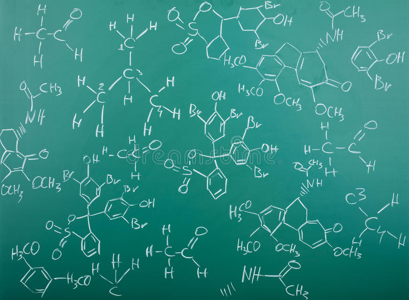 Organic chemical formulas on chalkboard royalty free stock images