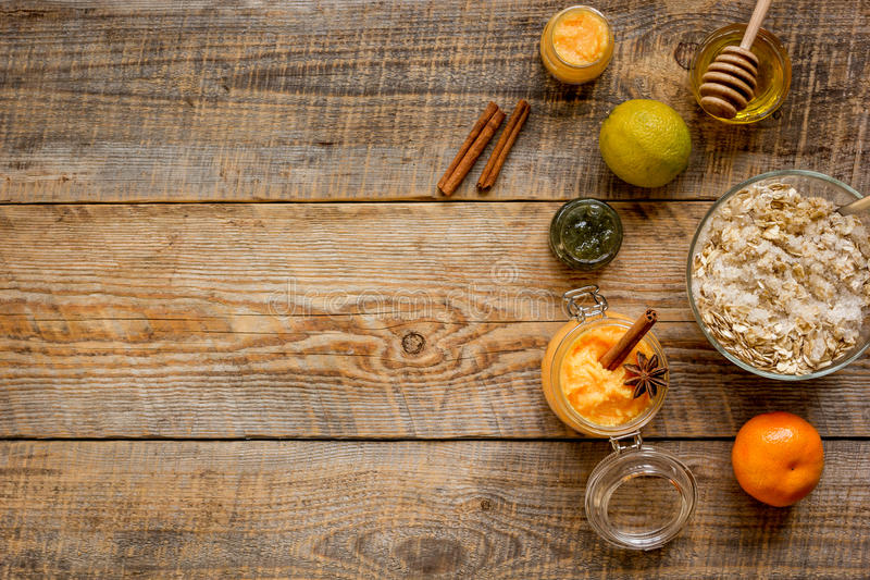 Organic citrus scrub homemade on wooden background top view.  royalty free stock photos