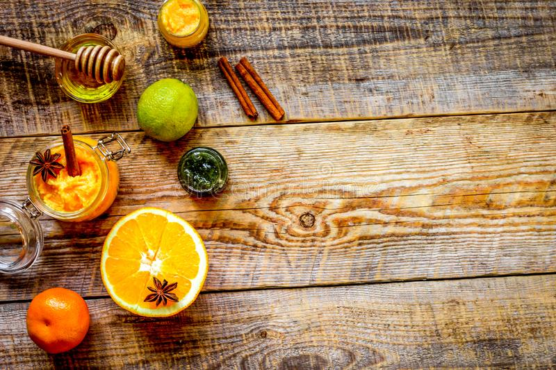 Organic citrus scrub homemade on wooden background top view.  stock photo