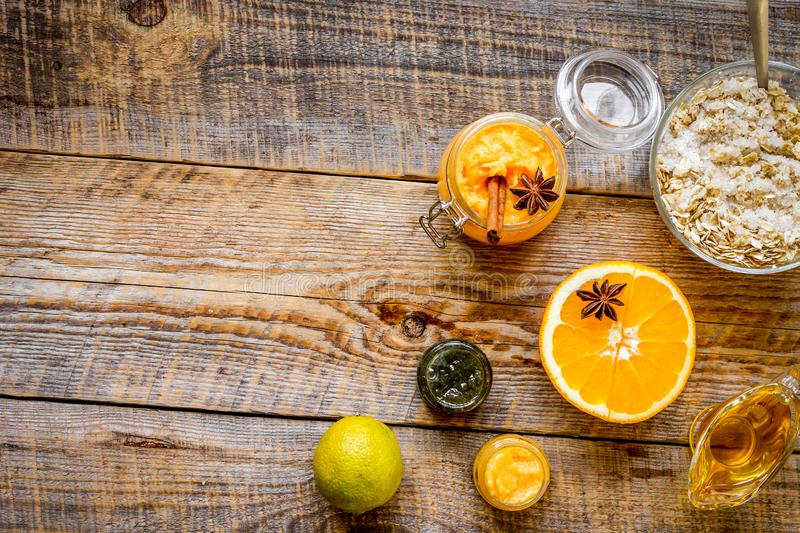 Organic citrus scrub homemade on wooden background top view.  stock photography