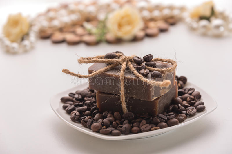 Organic coffee soap royalty free stock images
