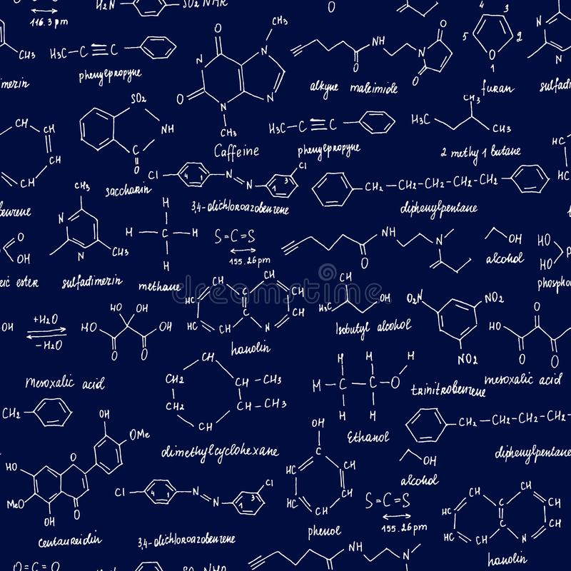 Organic compounds. Seamless texture. Sketch of the school blackboard with the chemestry organic compound. Organic. Chemistry vector illustration