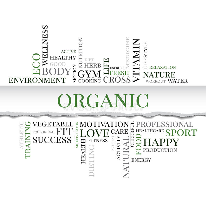 Organic concept related words in tag cloud. With different association organic and healthy terms. The effect of torn paper. Vector stock illustration