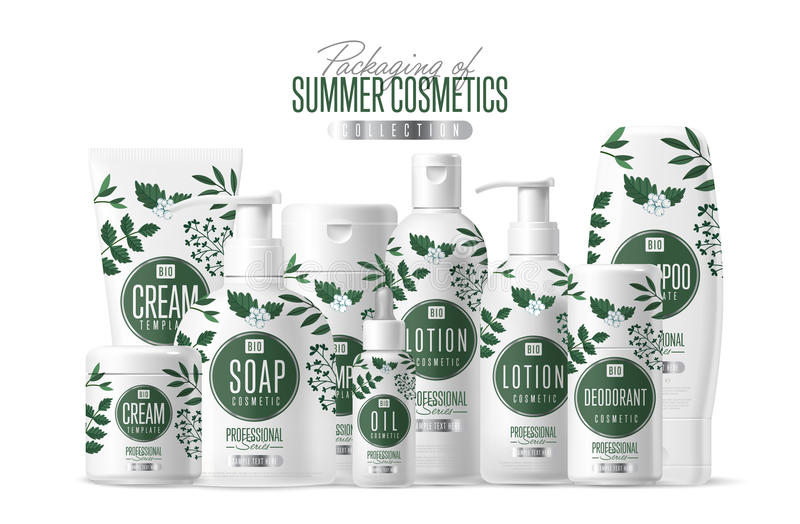 Organic cosmetic brand template packaging set. Organic cosmetic brand vector packaging template, body care product. Oil, lotion or soap, shampoo, cream stock illustration