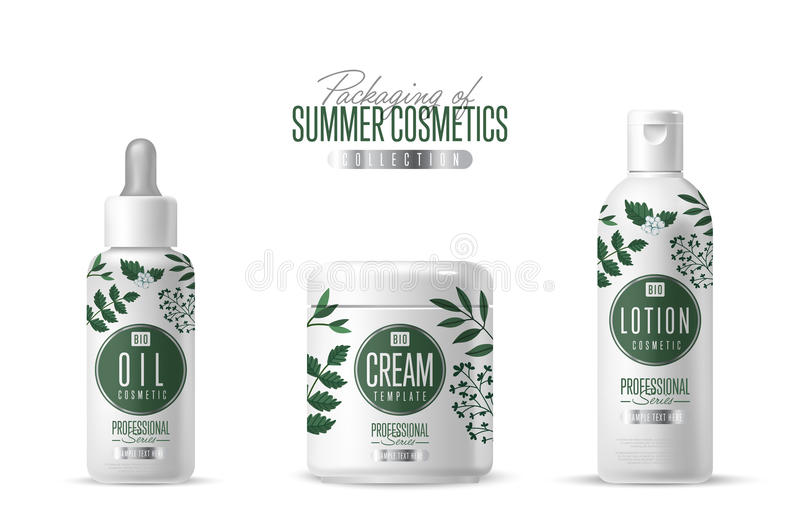 Organic cosmetic brand template packaging set. Organic cosmetic brand vector packaging template, body care product. Oil, lotion or soap, shampoo, cream vector illustration