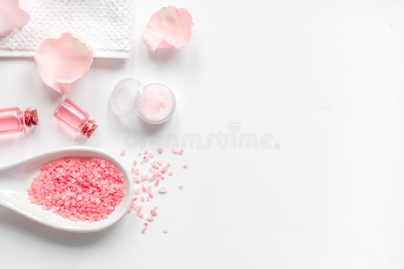 Organic cosmetic with rose oil on white background top view.  stock image