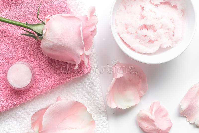 Organic cosmetic with rose oil on white background top view.  stock photography