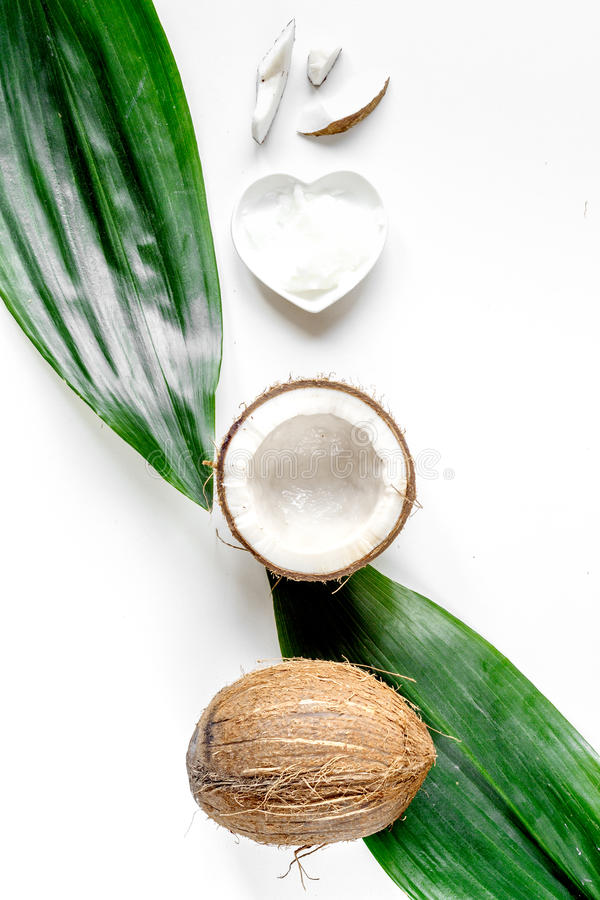 Organic cosmetics with coconut on white background top view.  stock images