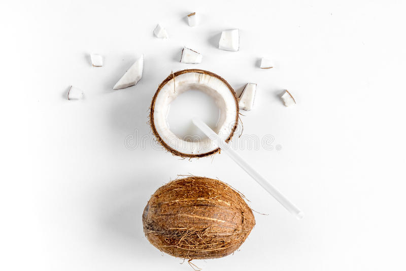 Organic cosmetics with coconut on white background top view mockup.  stock images