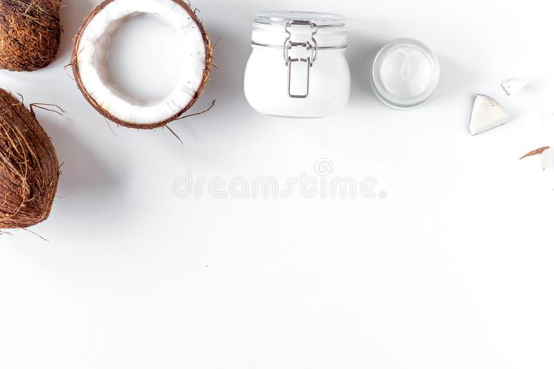 Organic cosmetics with coconut on white background top view mock. Up stock photo