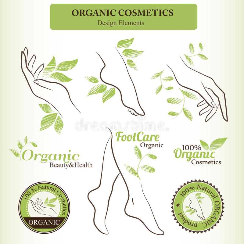Organic Cosmetics Design Set with contoured female body parts - foot, hand vector illustration