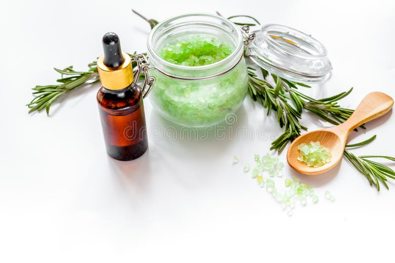 organic cosmetics with extracts of herbs rosemary on white backg stock images