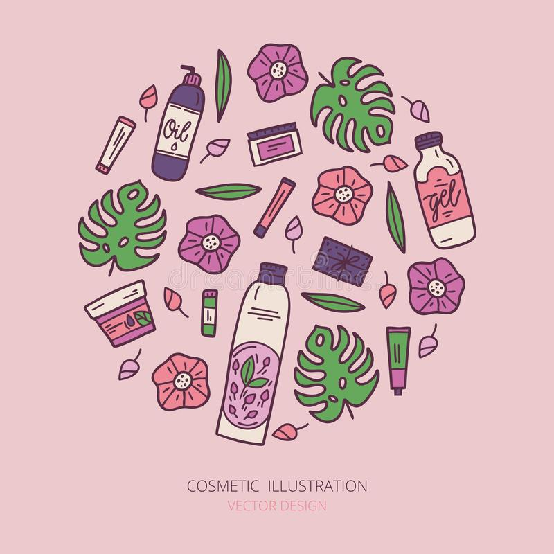 Organic cosmetics illustration. Beauty set. Hand drawn spa and aromatherapy elements. Cartoon vector sketch of natural cosmetic stock photography