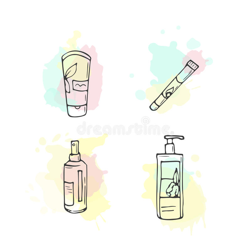 Organic cosmetics illustration. Vector cosmetic bottles. Doodle skin care items. Hand drawn set. Herbal lotion. Bio. Cream. Women make up icons stock illustration