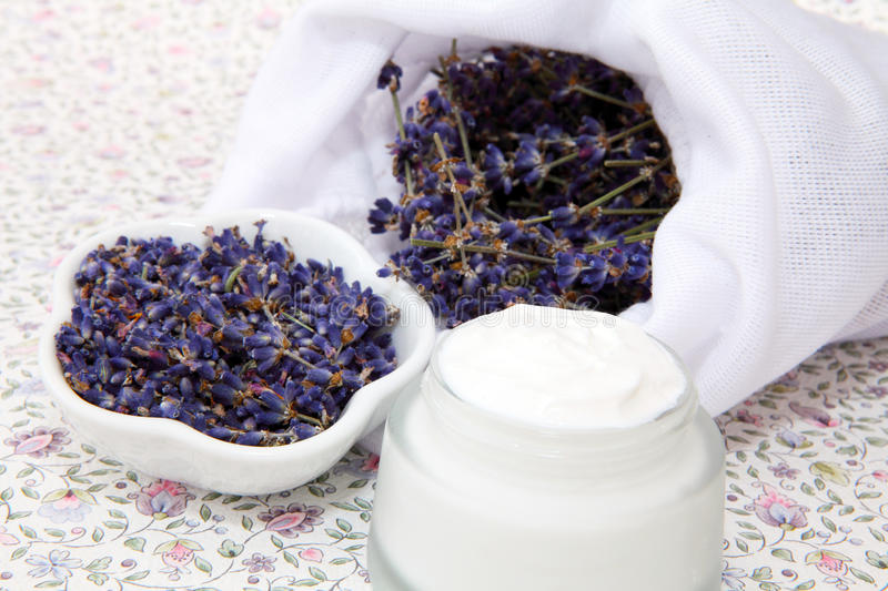 Organic cosmetics with lavender royalty free stock photo