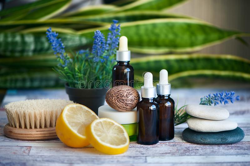 Organic cosmetics, natural fruit oils. Concept spa, skin care, e. Cological and organic natural cosmetics royalty free stock photo