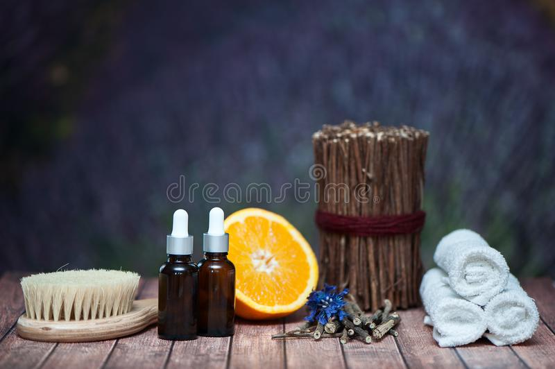 Organic cosmetics, natural fruit oils. Concept spa, skin care, e. Cological and organic natural cosmetics stock images