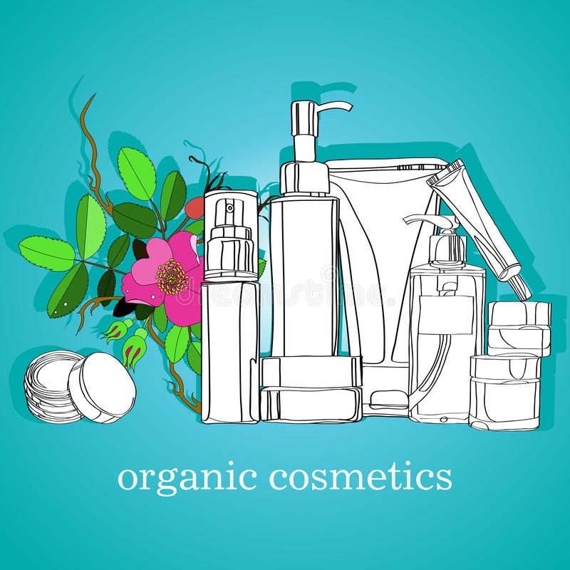Organic cosmetics vector illustration