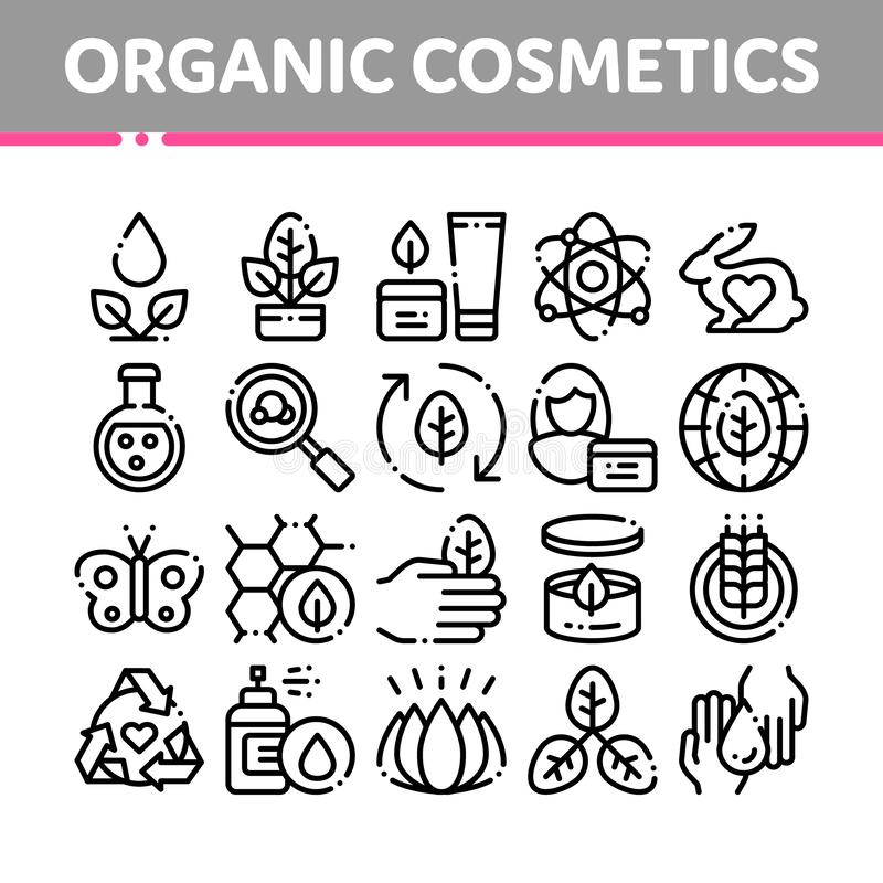 Organic Cosmetics Vector Thin Line Icons Set. Organic Cosmetics, Natural Ingredient Linear Pictograms. Eco-friendly, Cruelty-free Product, Molecular Analysis vector illustration