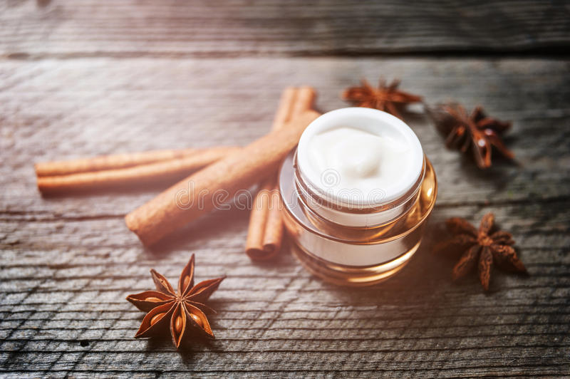 Organic creams, lotions for the face and body. royalty free stock images