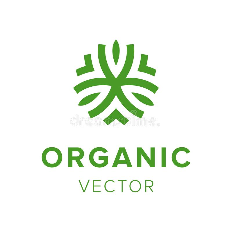 Organic creative label. Eco friendly products logo design. Template green abstract icon . Natural farming business emblem vector illustration stock illustration