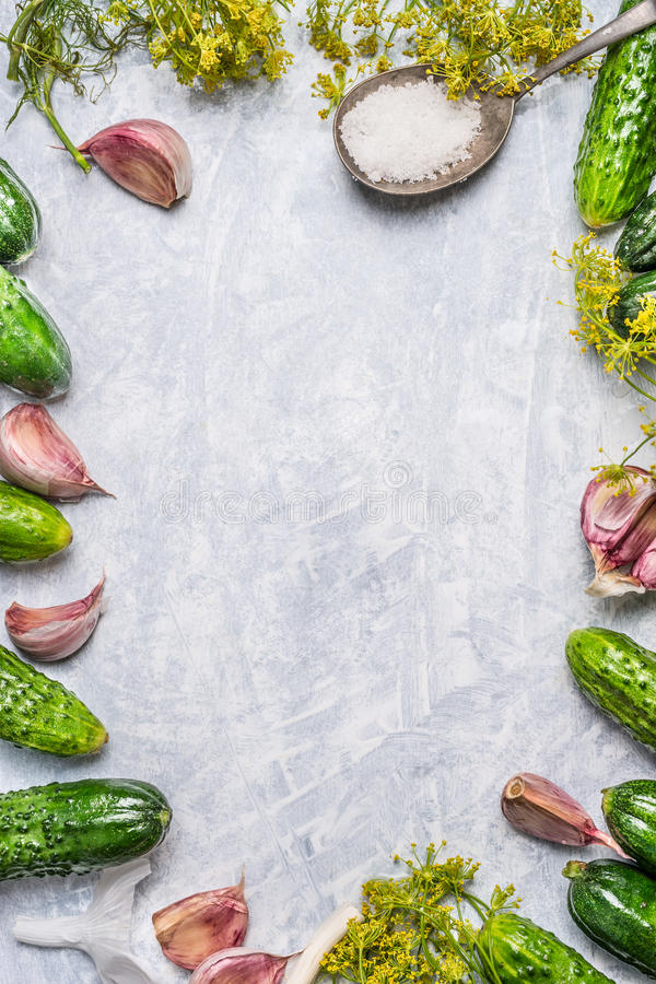 Free Organic Cucumbers And Ingredients For Pickling On Light Wooden Background,top View Stock Photo - 58689000