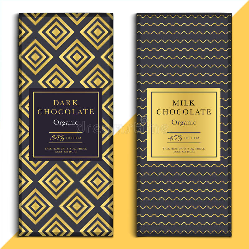 Organic dark and milk chocolate bar design. Choco packaging vector mockup. Trendy luxury product branding template with label and royalty free illustration