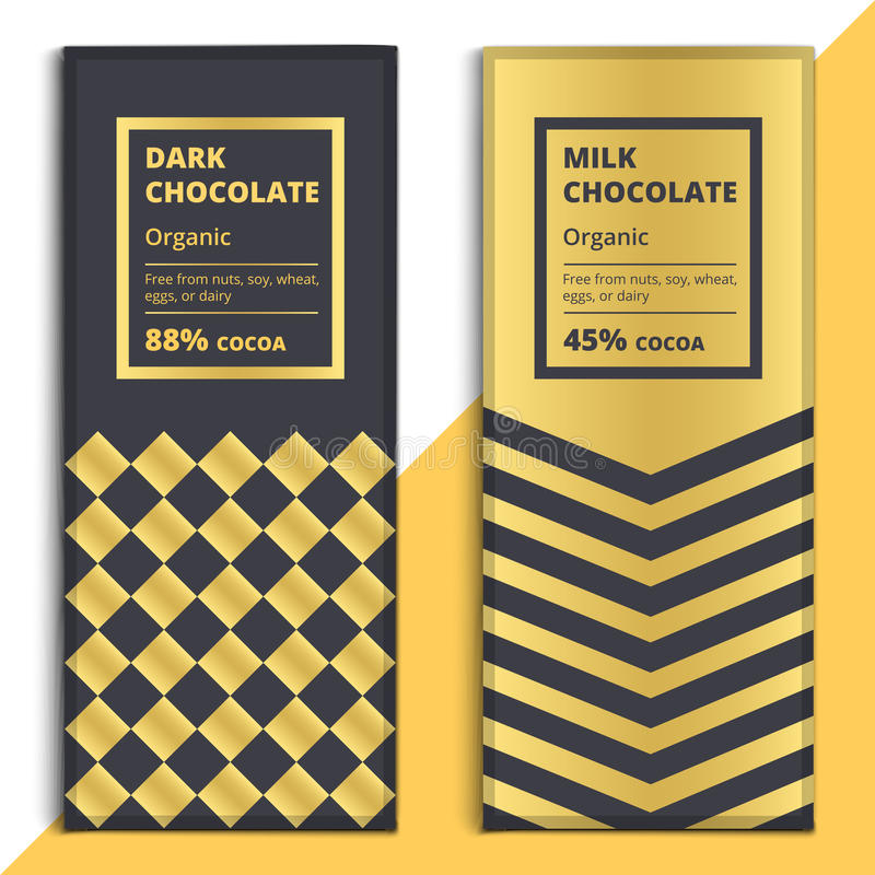 Download Organic Dark And Milk Chocolate Bar Design Choco Packaging Stock Vector
